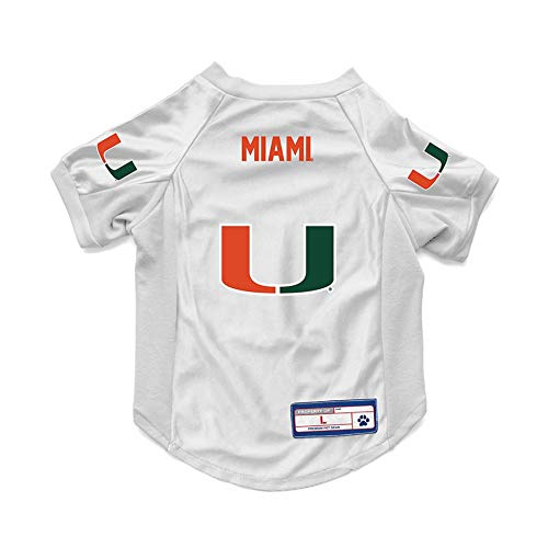 Littlearth NCAA Miami Hurricanes Pet JerseyJersey Stretch, Team Color, Small