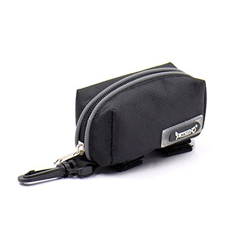 MACRHEE--Portable Pet Dog Waste Poo Puppy Pick-Up Bags Pet Poop Bag Holder Hook Pouch (Black)