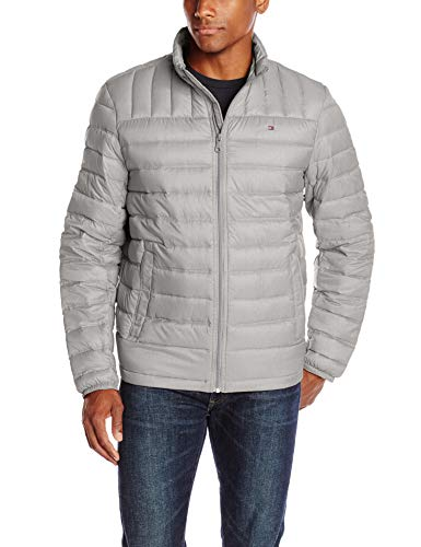 Tommy Hilfiger Men's Packable Down Jacket (Regular and Big & Tall Sizes), Heather Stone, Large