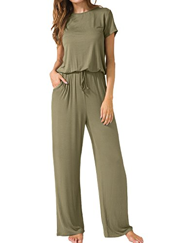 LAINAB Women Casual Short Sleeve Pockets Keyhole Back Easy Rompers Army Green S