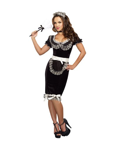 Dreamgirl Women's Keep It Clean Costume, Black, Medium (French Maid Costumes For Adults)