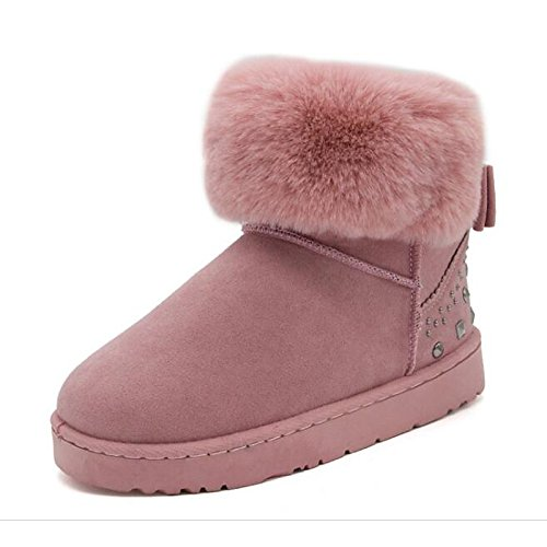 Booties Snow Fall HSXZ Round Shoes Winter For leather Boots Flat Casual Comfort Rivet ZHZNVX Women's Shoes Heel Pink Walking Boots Toe Ankle Nubuck Boots dqwYx4T8S