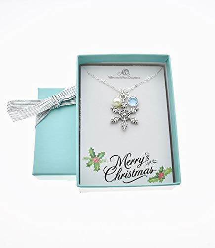 Snowflake Necklace In Silver Toned Metal Accented By A Genuine Swarovski Aquamarine Channel Charm And Swarovski Crystal Pearl, Winter ()