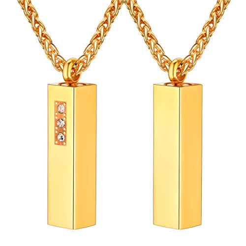4D Vertical Bar Necklace 18K Gold Plated Stainless Steel Wheat Chain 22