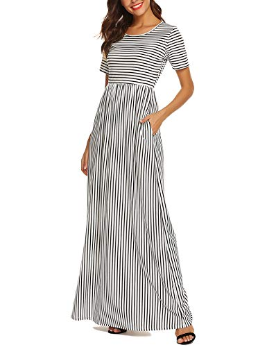 URRU Casual Women's Long Maxi T-Shirt Dress with Half Sleeves and Pockets White XL