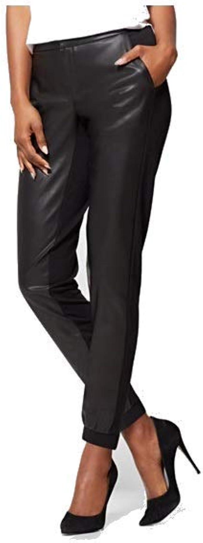 Amazon Com New York Co Pantalones De Cuero Sintetico Para Mujer Negro Clothing