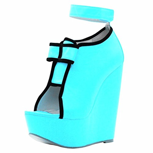 34 Fashion Sandals Prom Peep Heel Women Shoes Toe Cm 14 Blue Sky Shoes 45 VIVIOO Of Size 5 Wedges Shoes Elegant Pumps 7 qUggp