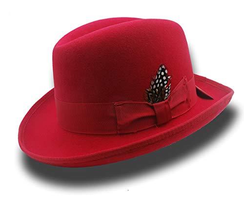 Homburg Fedora Godfather Hat Classic 100% Wool-Felt Men's Dress Hat (M=57CM(7 1/8)) Red