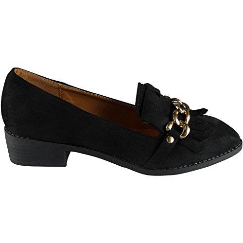 Neue Frauen Faux Velours Niedrig Hacke Müßiggänger Schuhe Größe 36-41 Schwarz