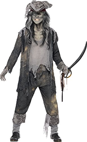 [Smiffy's Men's Ghost Ship Ghoul Costume, Coat, pants and Hat, Ghost Ship, Halloween, Plus Size XL,] (Ghost Baby Halloween Costume)