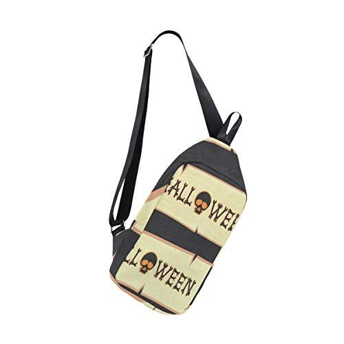 Sling Bag Halloween Skull Wood Womens Chest Shoulder Backpacks Crossbody Triangle Rucksack Bag Pack]()