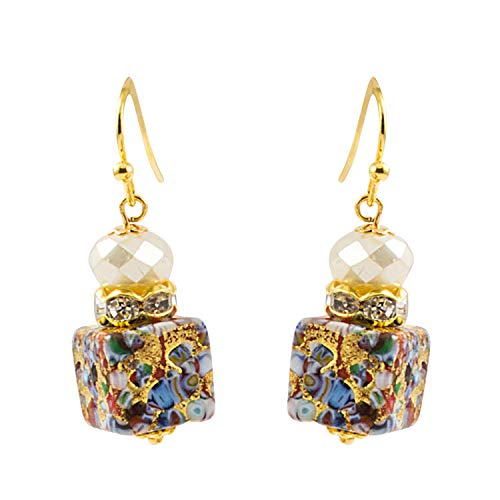 Just Give Me Jewels Genuine Venice Murano Klimt Glass Cube Dangle Earrings - Multicolor