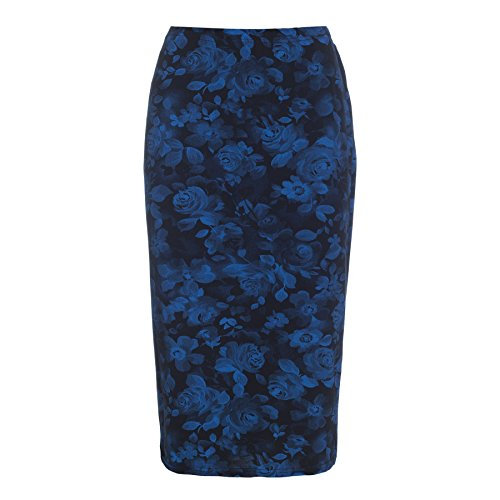 Oops Outlet Women's Printed Tube High Waist Wiggle Bodycon Pencil Midi Skirt Plus Size US 16 Floral Rose Blue Black