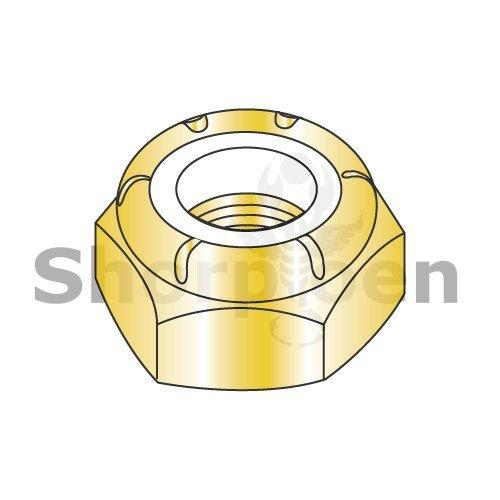 Thin Pattern Nylon Insert Hex Lock Nut Fine Thread Zinc Yellow 3/8-24 NTE (Box of 1000) weight9.2Lbs
