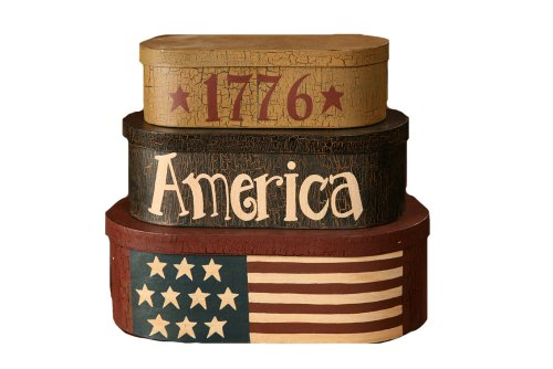 Your Heart's Delight 1776 America Nesting Boxes, 13-1/4 by 15-1/4 by 8-1/2-Inch, Set of 3 - Americana Decor