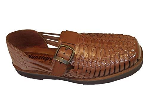 Sunsteps Rio Men's Hand Woven Leather Huarache Sandal for All-Day Comfort (13M, Medium Brown)
