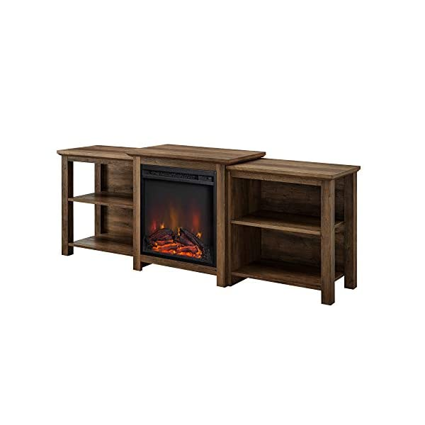 """Walker Edison Tiered Wood Fireplace Stand with Open 80"""" Flat Screen Universal TV Console Living Room Storage Shelves Entertainment Center, 70 Inch, Rustic Oak"""
