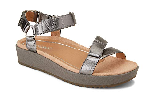 Vionic Women's Tropic Kayan Backstrap Platform Sandal - Ladies Sandals Concealed Orthotic Support Pewter 6 W US