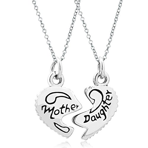 Q&Locket 2 Part Heart Love Mother Daughter Sister Best Friend Filigree Charm Pendant Necklace (Mother Daughter)