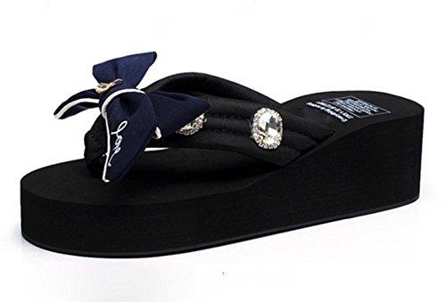 pengweiLas se?oras refrescan los deslizadores Verano que espesa los zapatos inferiores de la playa de la manera de la fricci¨®n del arenque del nudo de la mariposa 1
