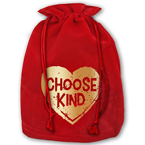 TPSXXY Choose Kind Gold Plated Large Christmas Drawstring Bag Santa Present Bag Basket Gifts Sack
