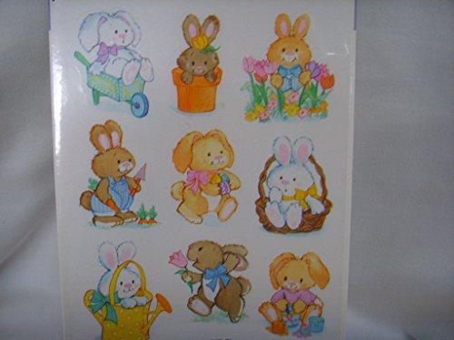 Vintage Hallmark Easter Basket Bunny Rabbit Stickers Scrapbooking ; 1 sheet