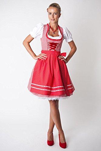 Ludwig und Therese Damen Trachten Dirndl-Set Rosalie mini rot/weiss 3-tlg 12215