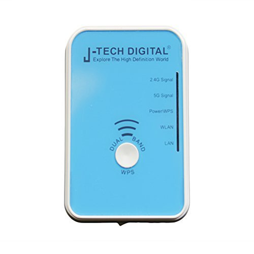 J-Tech Digital 300Mbps Universal Portable Wireless Range Extender Dual Band WiFi Repeater Double Coverage WiFi Range Extender 2.4GHz 5GHz Dual Band WiFi Signal Boosters