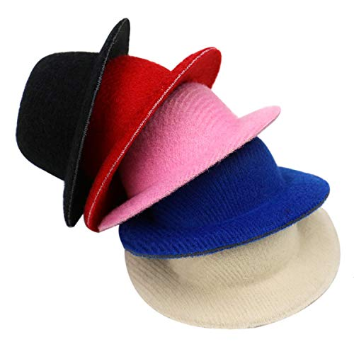 JETEHO 20 Pack Assorted Color Mini Felt Top Hats for Miniature Work DIY Hair Accessories Crafts -