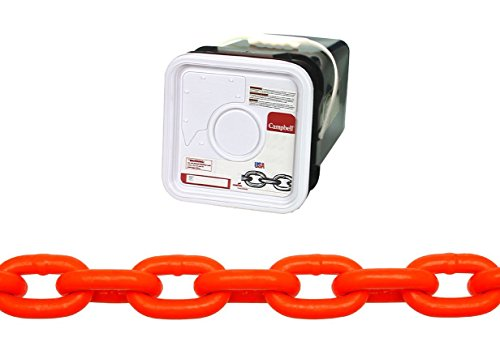 Campbell-HV0142526-System-3-Grade-30-Low-Carbon-Steel-Proof-Coil-Chain-in-Square-Pail-Hi-Visibility-Orange-Polycoated-516-Trade-031-Diameter-75-Length-1900-lbs-Load-Capacity