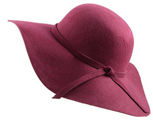 cb9f27c5aa9d Urban CoCo Women's Foldable Wide Brim Felt Bowler Fedora Floopy Wool Hat
