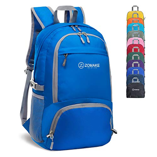 ZOMAKE 30L Lightweight Packable Backpack Water Resistant Hiking Daypack,Small Travel Backpack Foldable Camping Outdoor Bag Dark Blue