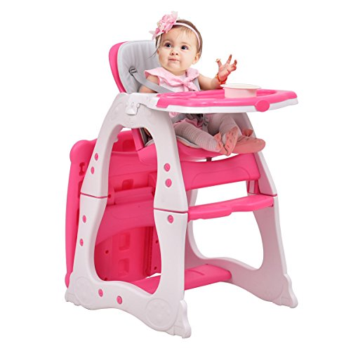 Costzon 3 in 1 Baby High Chair Desk Convertible Play Table Conversion Seat Booster (Pink) by Costzon (Image #6)