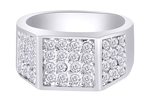 1/2 Carat White Natural Diamond Iced Out Hip Hop Band Ring In Sterling Silver(0.5Cttw) Ring Size-9.5