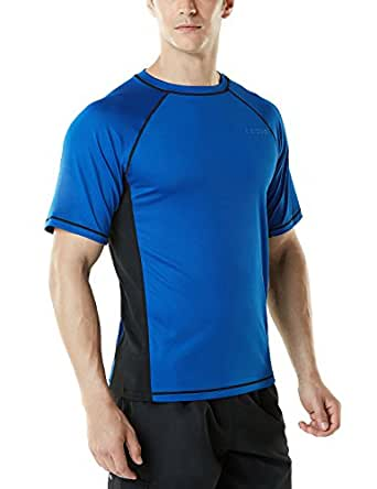 Tesla Men's UPF 50+Swim Shirt Loose-Fit Short Sleeve Rashguard Top MSS01-BUK