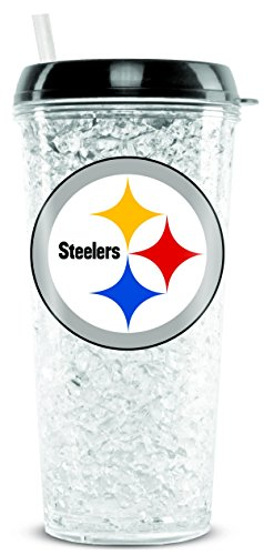 (NFL Pittsburgh Steelers 16oz Crystal Freezer Tumbler with Lid and Straw)