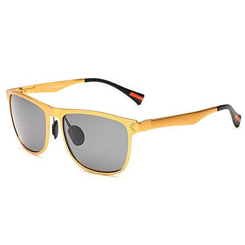 KOMEISHO de Sol de para Gafas Sol de polarizadas Tonos del Oro magnesio Aluminio Hombres protección los Novedad Ultravioleta diseñador Gafas Vintage Marco y de del conduci wIRHrI