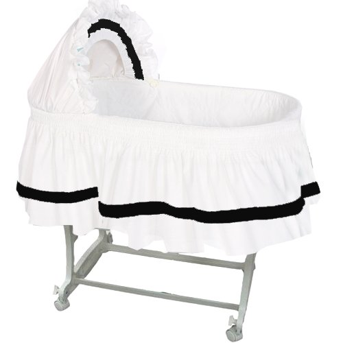 aBaby Modern Style Short Bassinet Skirt, Black, Small 009243440895