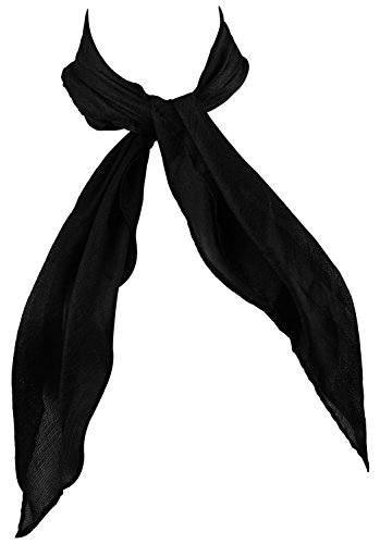 50's Womens Neck Hair Scarf Solid Bandanas Square Head Scarves for Women Black
