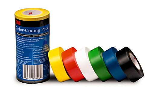 3M General Purpose Vinyl Tape Color Coding Pack, 6-Roll (Vinyl Tape Plastic)