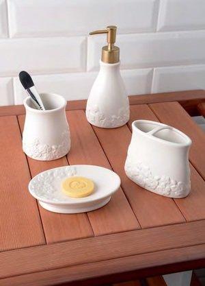 Kit Accessoires Salle De Bain Ramantic En Ceramique Blanc Amazon Fr