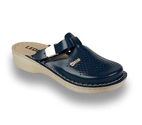 LEON V260 Sabots Mules Chaussons Chaussures en Cuir Femme Dames, Bleu, EU 38