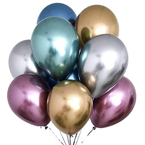 TOSOAR 50 Pack 12 Inches Metallic Latex Balloons Mixed 6 Colors Party Balloons for Wedding Birthdays Party Decorations (Chrome Metallic Balloons)