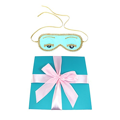 Tiffany Box Halloween Costume (Gift Boxed Audrey Hepburn Breakfast at Tiffany's, Sleep Mask, 100% Handmade, Pure Silk, Blue with gift box)