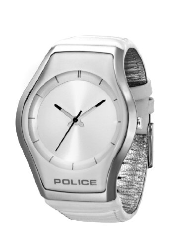 Police Men s PL-12778MS 04 Sphere X Round Silver Dial White Leather Strap Watch