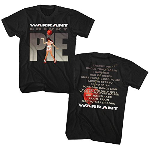 (Warrant Band T-Shirt Cherry Pie Front and Back Black Tee, Large)