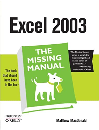Amazon Excel The Missing Manual 0636920006640 Matthew MacDonald Books