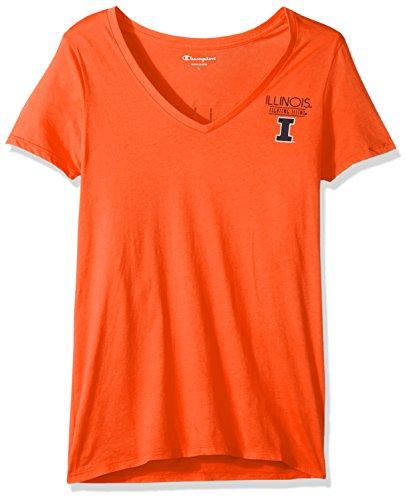 Champion NCAA Illinois Illini Adult Women NCAA Women's University V-Neck Front/Back,Large,Orange