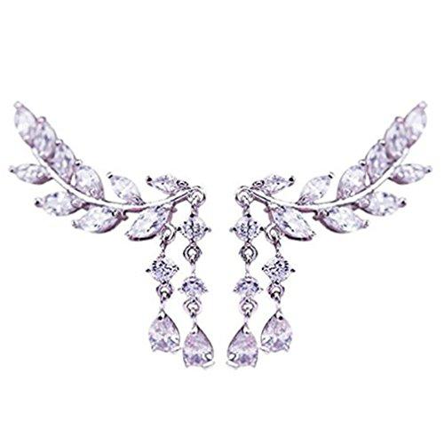 Iumer Fashion Earrings Crystal Leaves Tassel Ear Stud Jewelry For Women Zircon Ear Stud Siliver