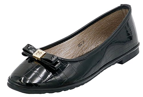 Femme Shoes Ballerines Ageemi eud17 Couleur Plates Noir Unie Tire Chaussures 15Uxw